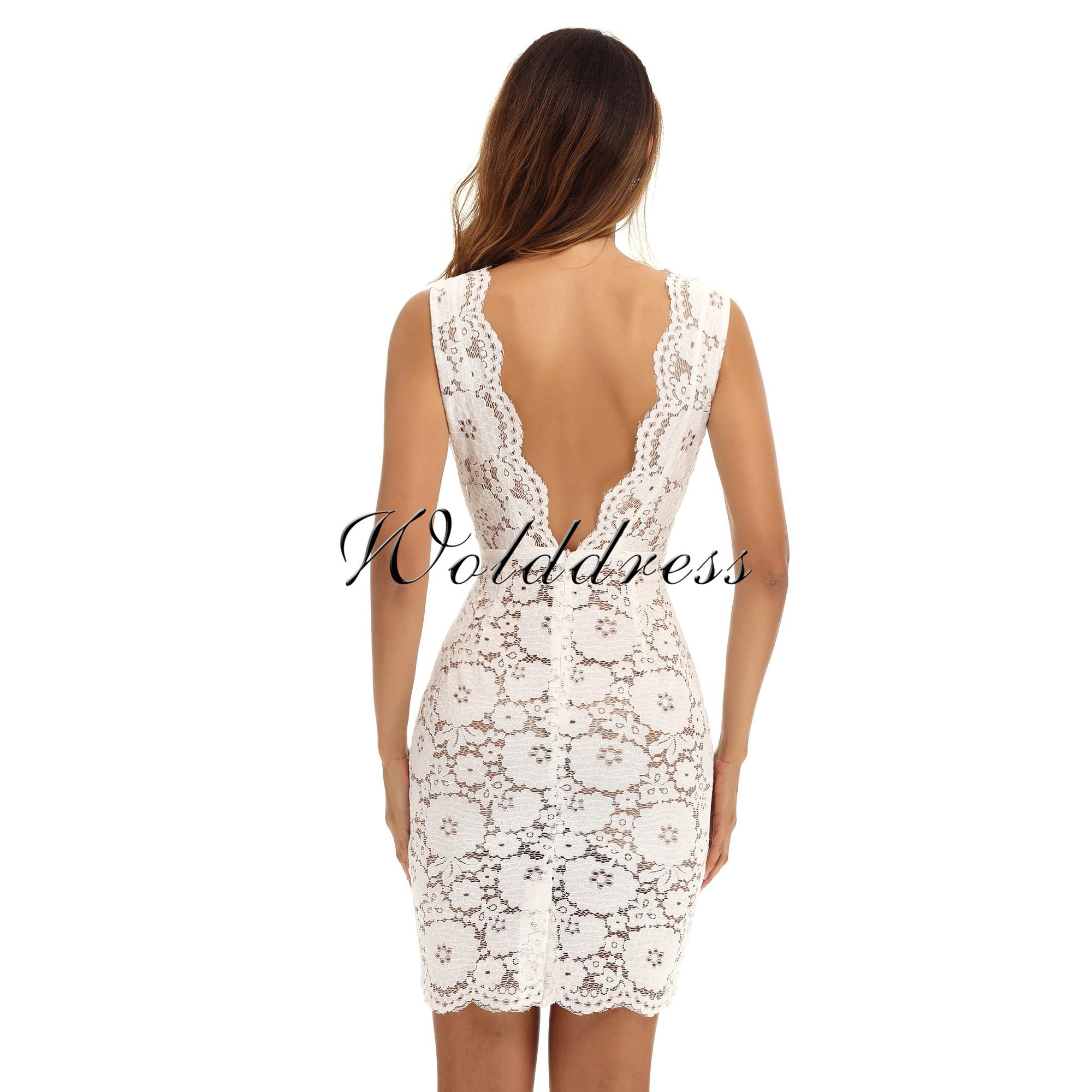 White V Neck Sleeveless One Piece Lace Breast Fashion Dress HG299-White