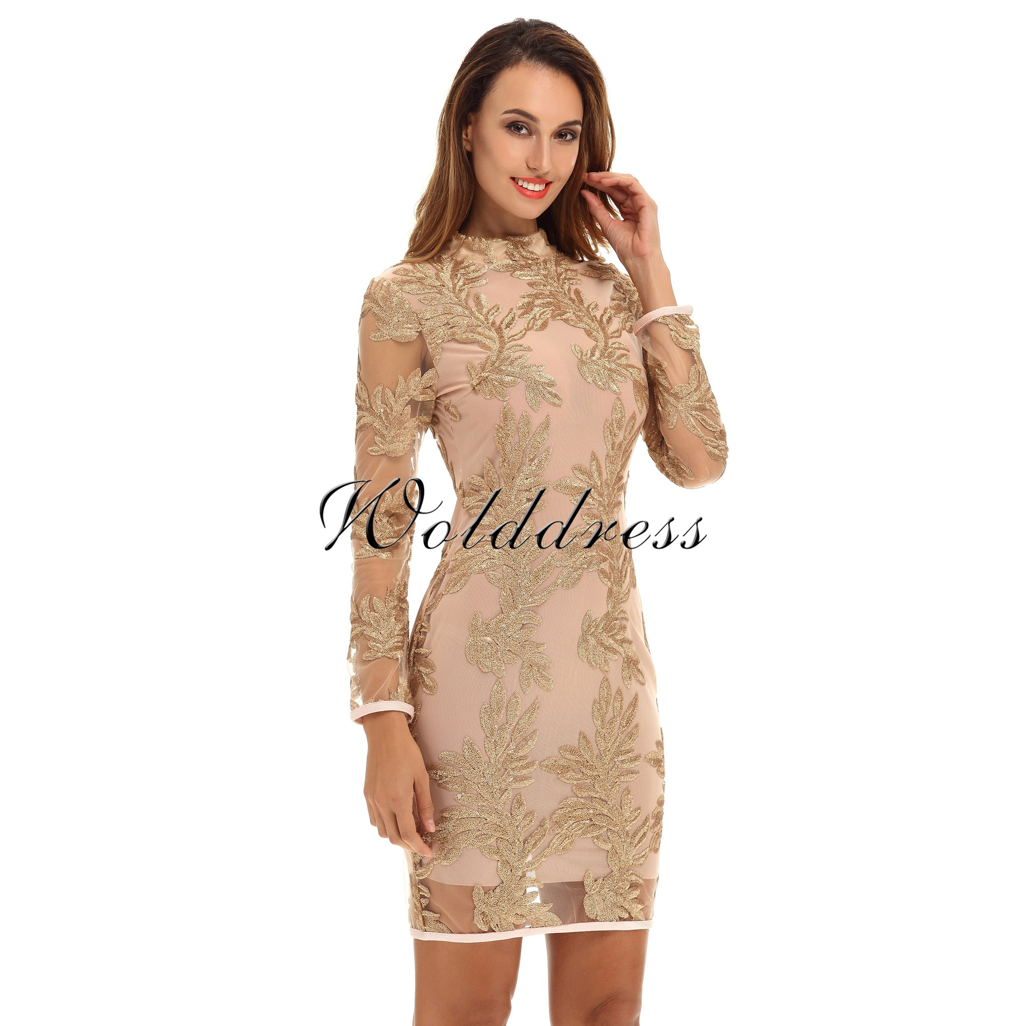 Gold Turtle Neck Long Sleeve Mini Sequined Lace Party Bodycon Dress