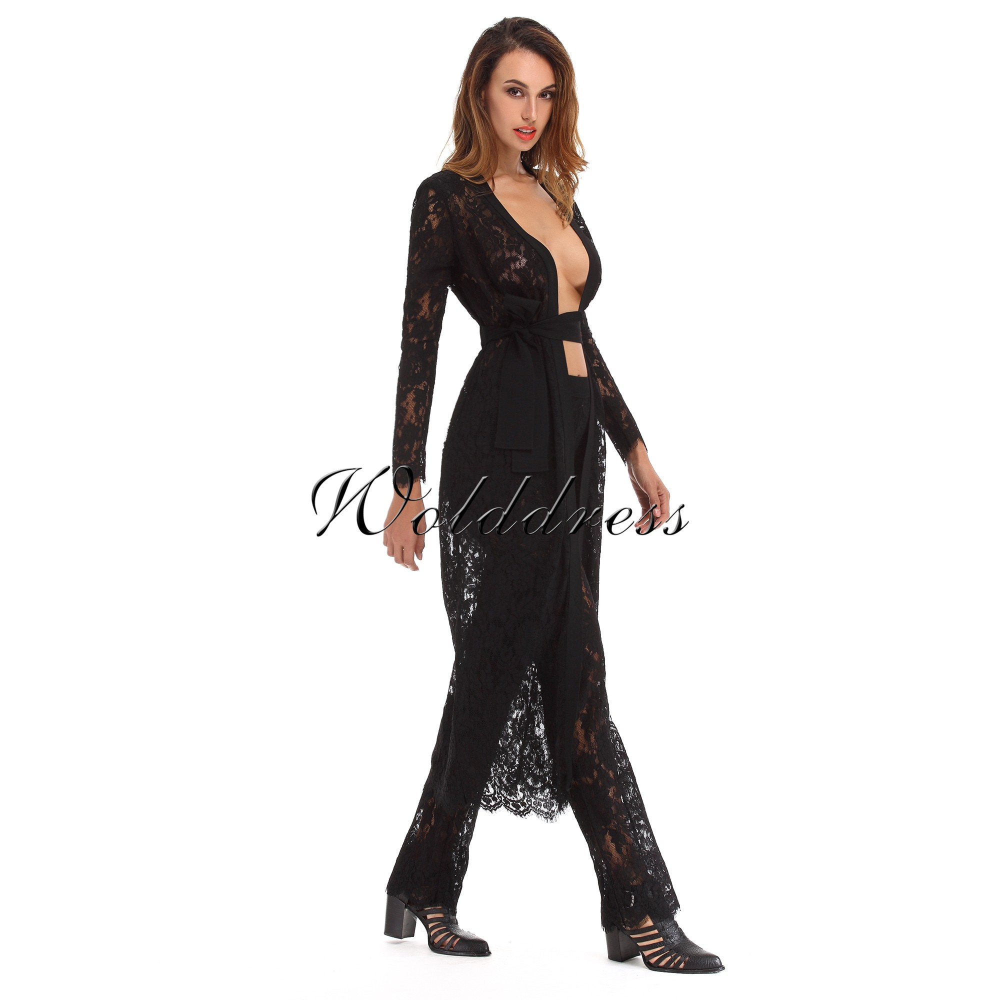Long Sleeves Lace Sexy Poncho Fashionable Three Pieces Matchs SP034-Black