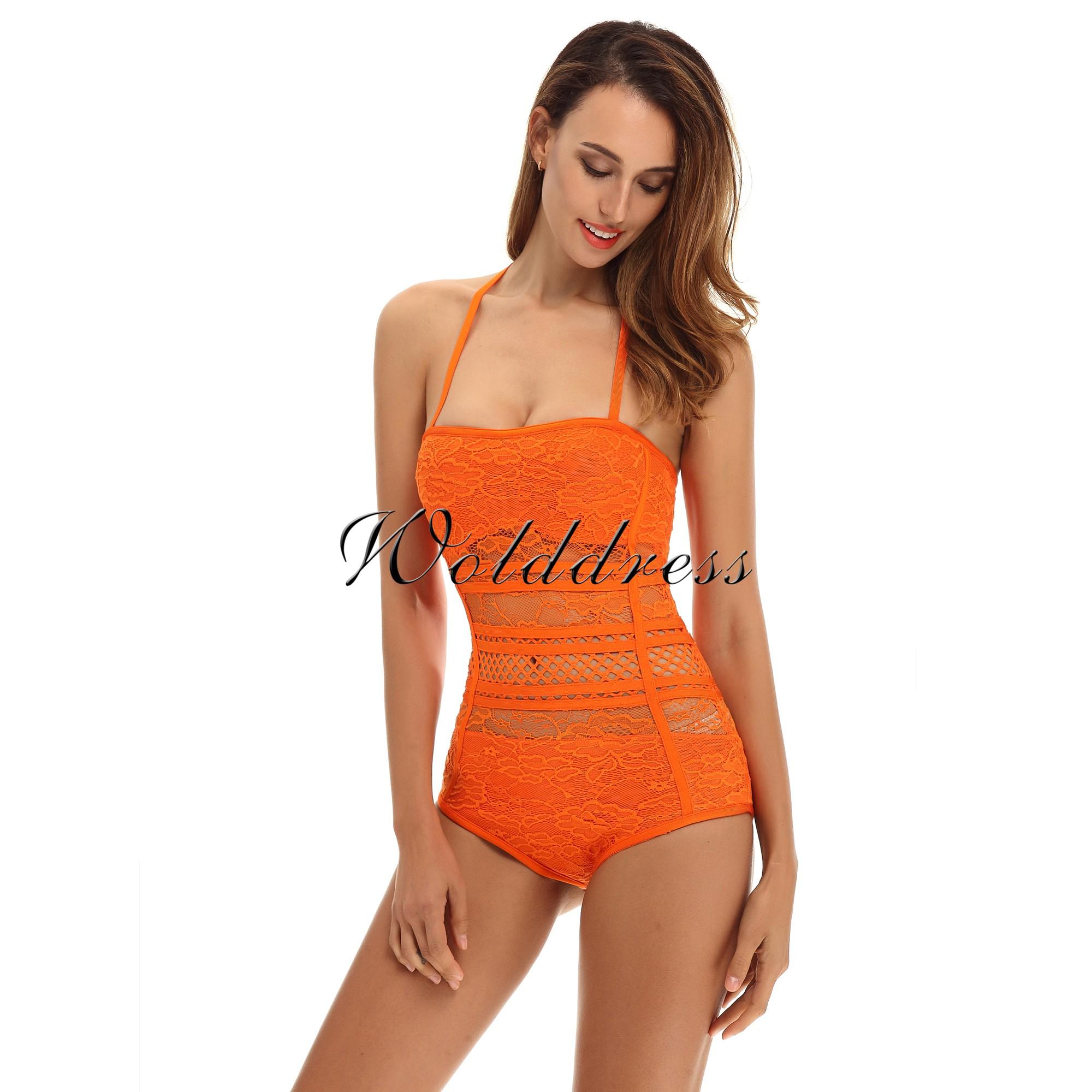 Orange Halter Sleeveless Lace See Through Sexy Bandage Bodysuit HT0084-Orange