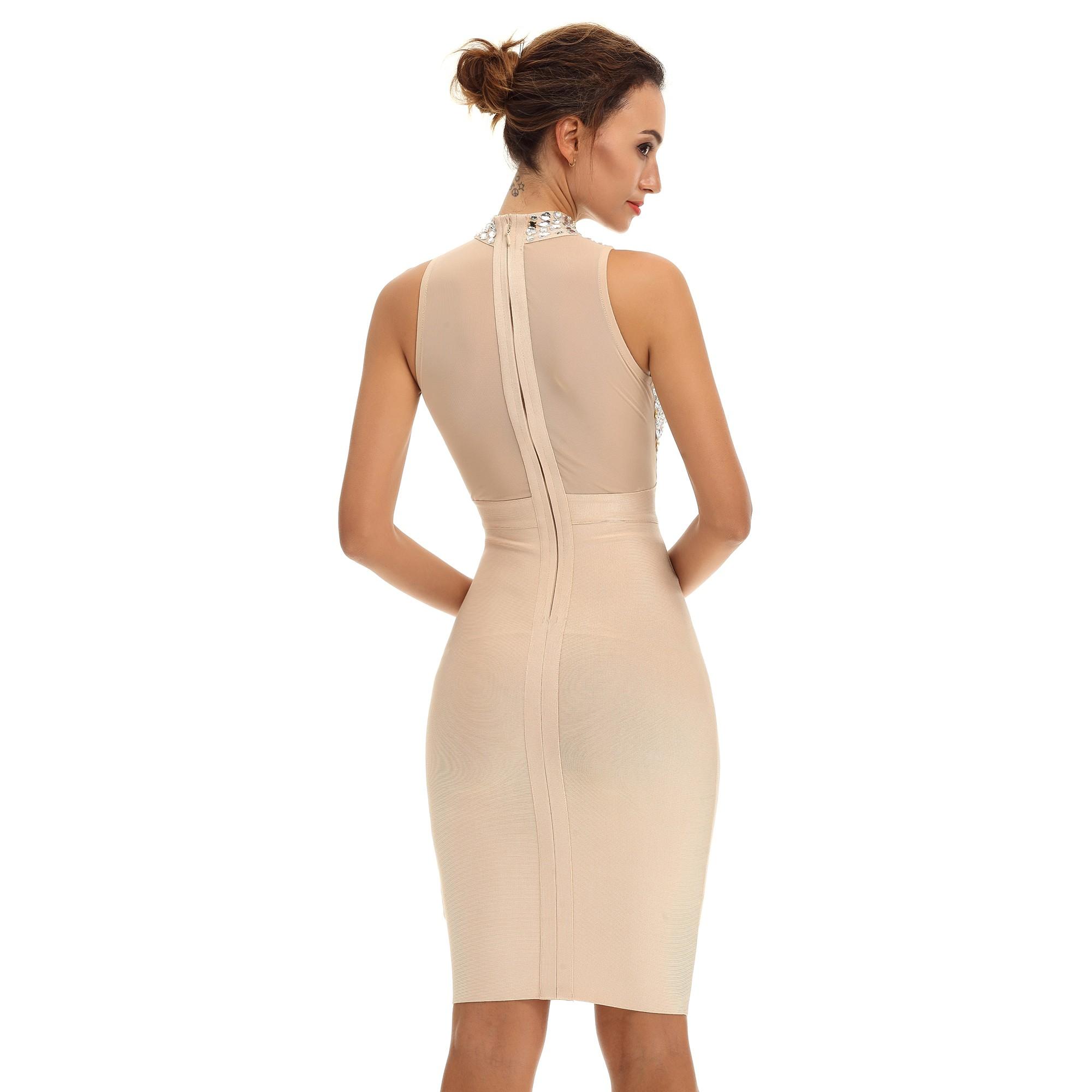 High Neck Sleeveless Crystal Beading Nude Bandage Dress HT1499-Nude