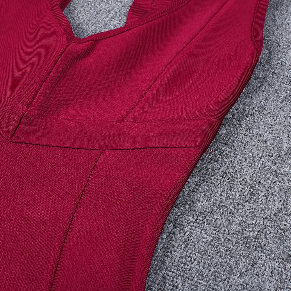 Wine Strapy Sleeveless Over Knee Fashion Bandage Dress HQ252-Wine