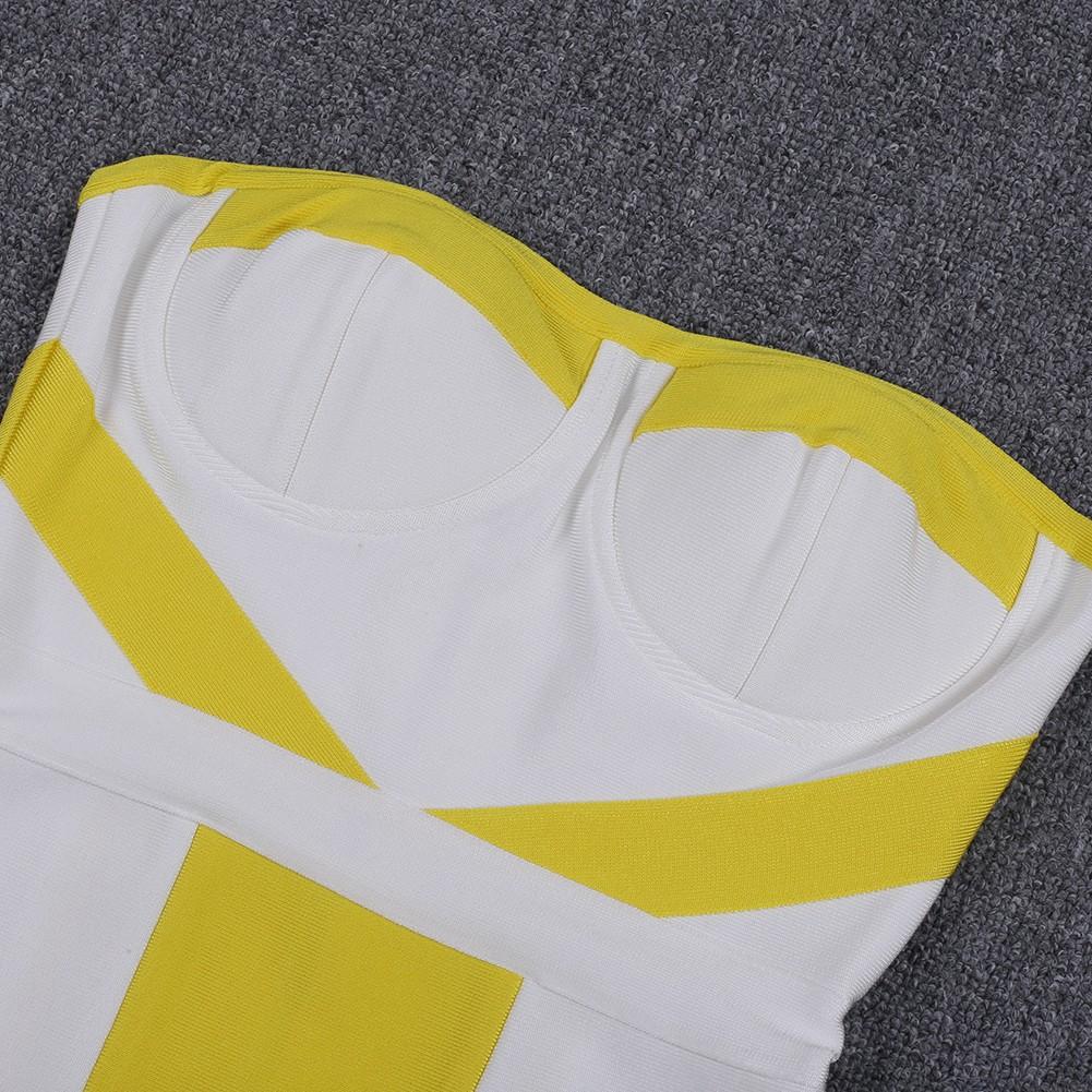 Yellow Strapless Sleeveless Mini Fashion Bandage Dress HQ253-Yellow