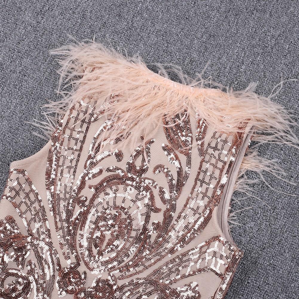 Gold V Neck Sleeveless Mini Sequins Leather High Quality Bandage Dress HQ250-Gold