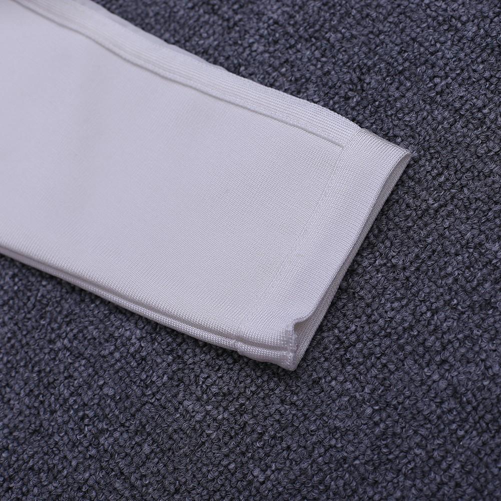 White Strapy Long Sleeve Mini Sidestripe Shoulder-Straps Fashion Bandage Dress HK012-White