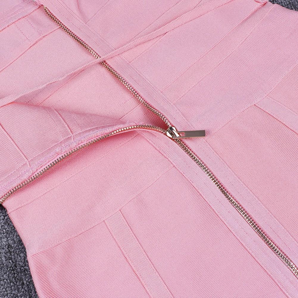 Rayon - Pink Strapy Sleeveless One Piece Bandage Tie Fashion Bandage Dress HJ448-Pink