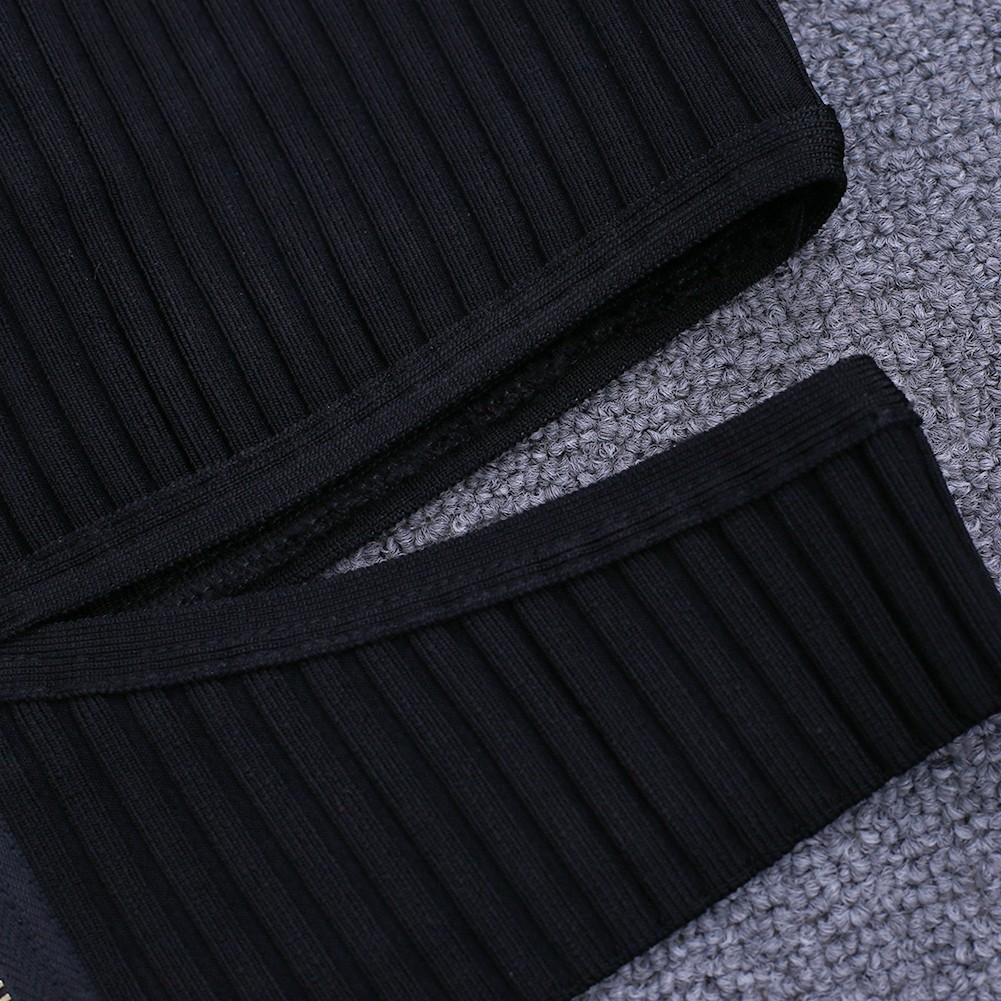 Black V Neck Long Sleeve 2 Piece Cut Out Fashion Bandage Dress HI907-Black