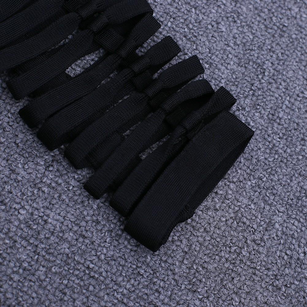Rayon - Black Round Neck Longslevee Mini Hollow Out Mesh Sexy Bandage Dress HJ442-Black