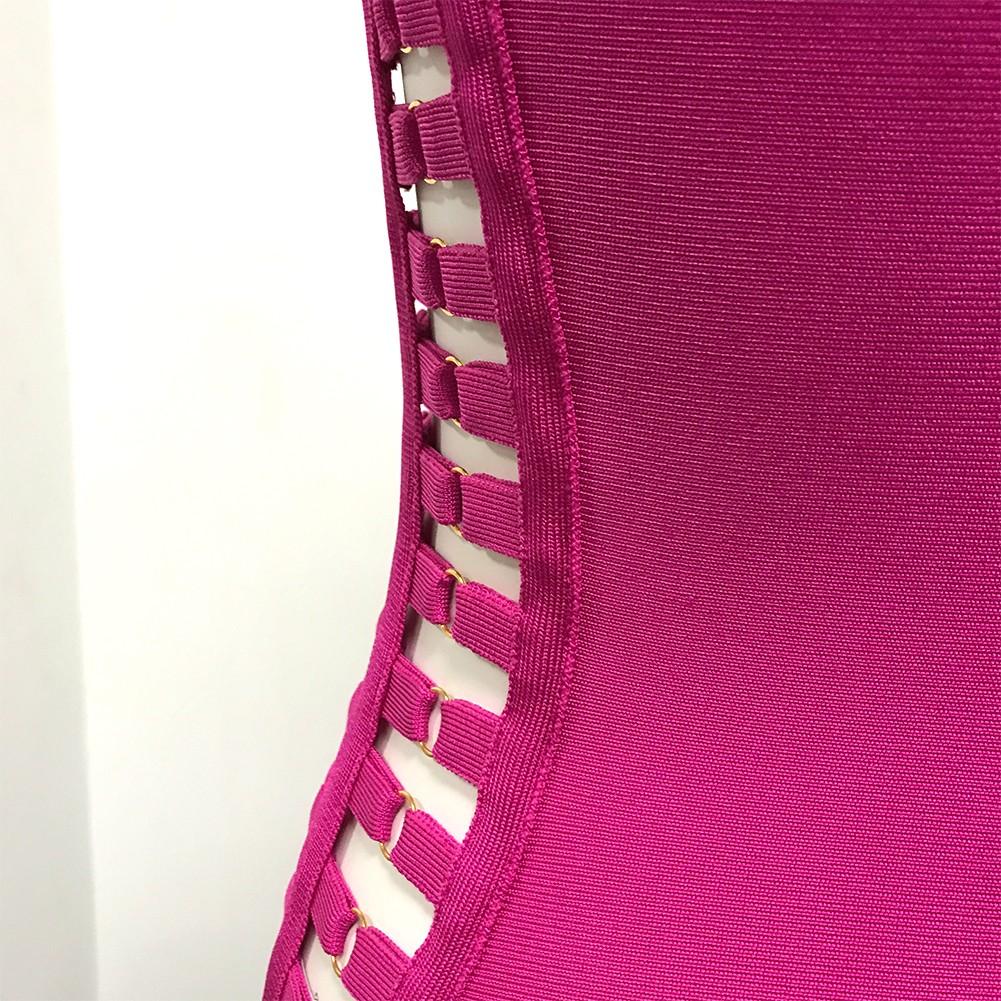 Rayon - Rose High Neck Sleeveless Mini Metal Embellished Cut Out High Quality Bandage Dress HJ402-Rose