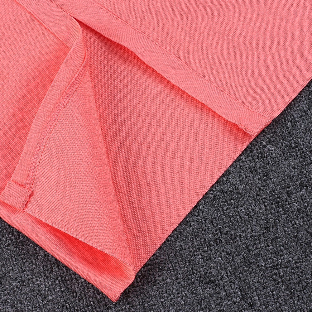 Orange Strapy Off Shoulder Over Knee Scolloped Sleeves Back Slitted Fashion Bandage Dress HB5404-Orange