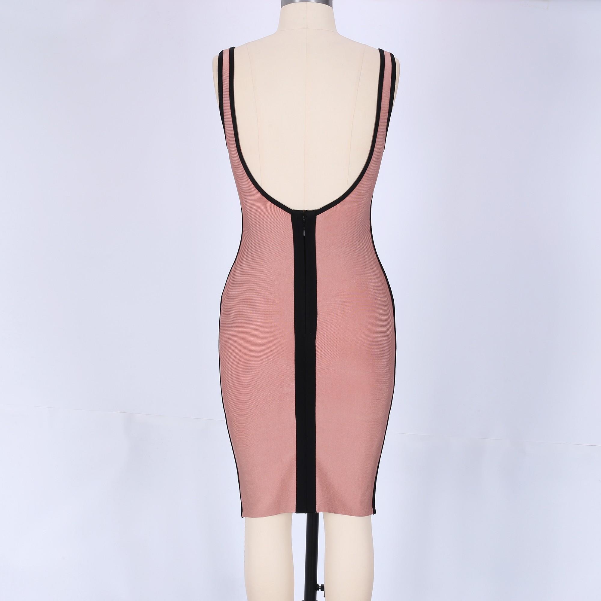 Coffee Strapy Sleeveless Mini Sexy Bandage Dress HK043-Coffee