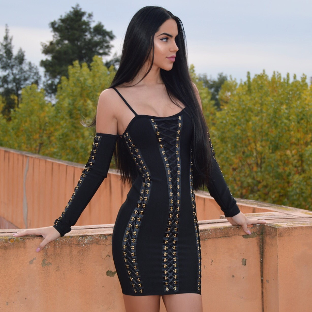 High Quality Off Shoulder Longsleeve Black Mini Metal Studded Bandage Dress HT0074-Black