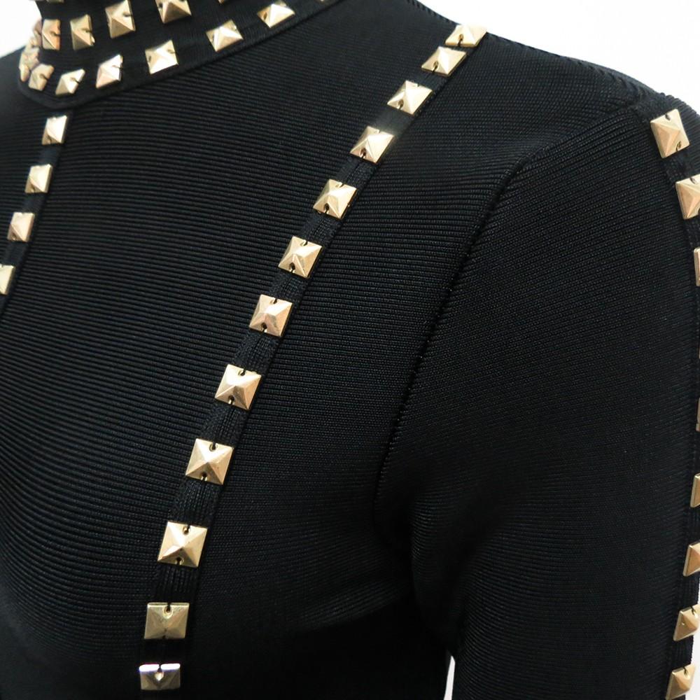 Rayon - Black Round Neck Longsleeve Mini Metal Studded Fashion Bandage Dress HJ381-Black