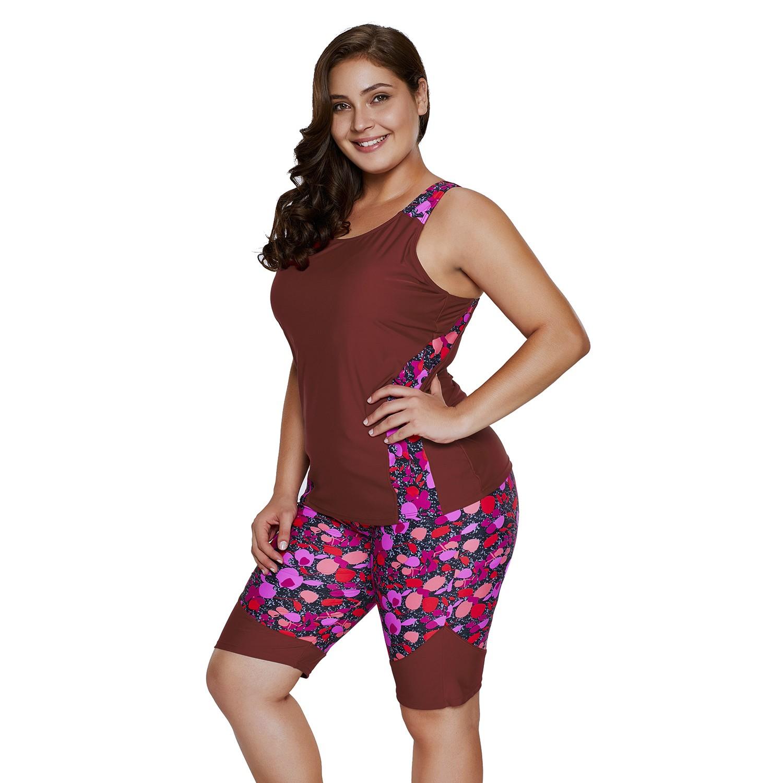 Women's Plus Size Rash Guard Capris Tankini Athletic Swimwear Wine