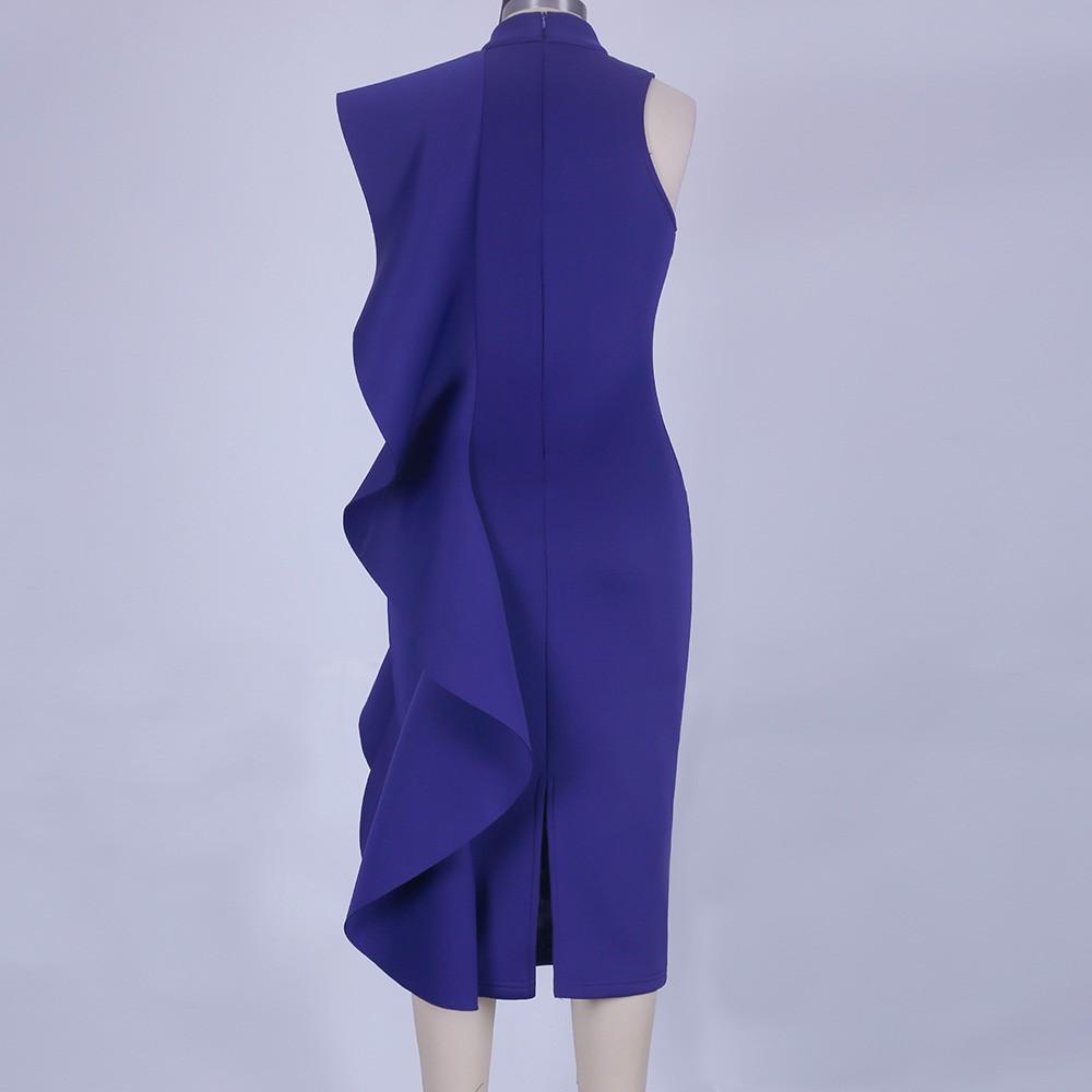 Blue Halter Sleeveless Knee Length Ruffles Elegant Bodycon Dress HD398-Blue