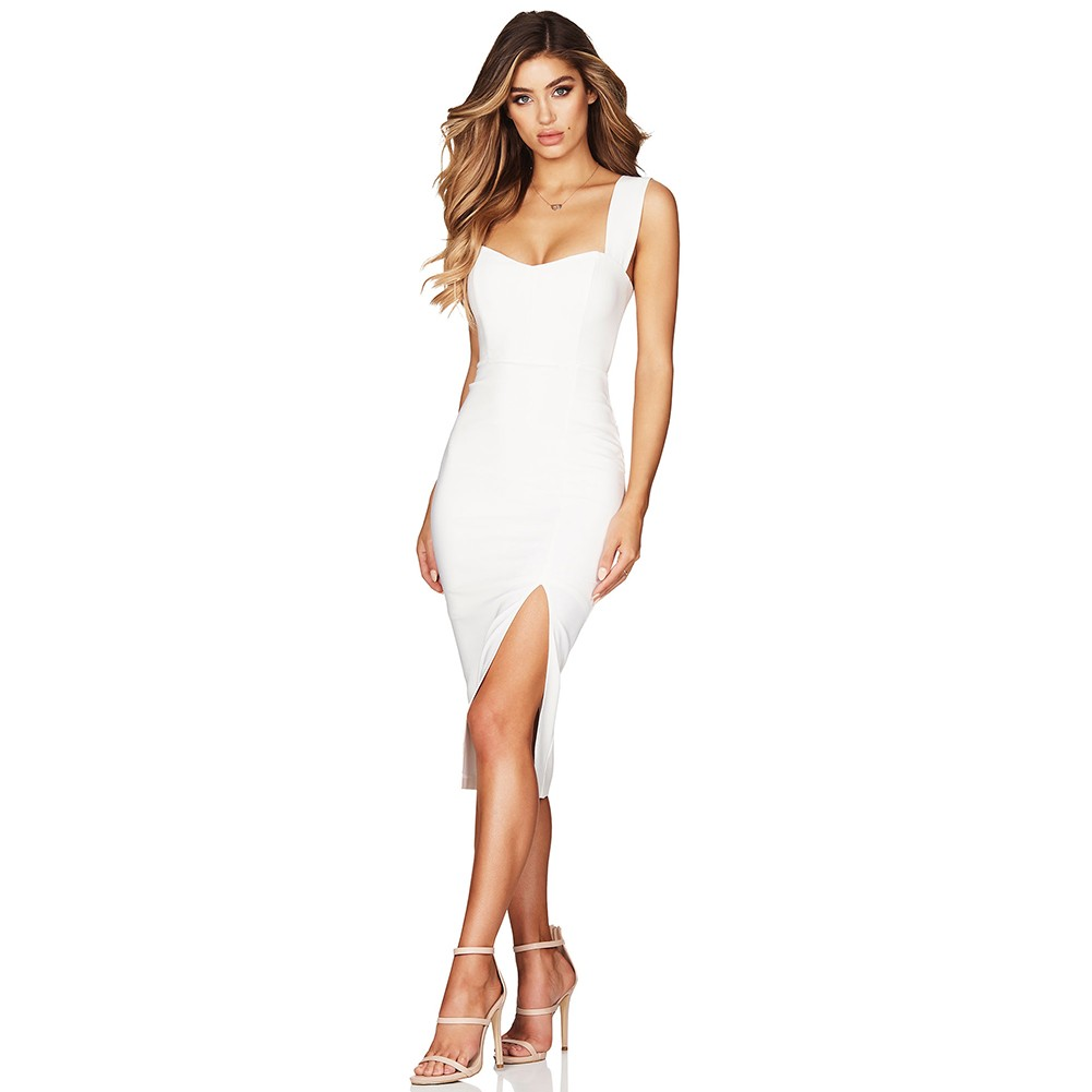 White Strappy Sleeveless One Piece Splitted Long High Quality Bandage Dress PF19041-White