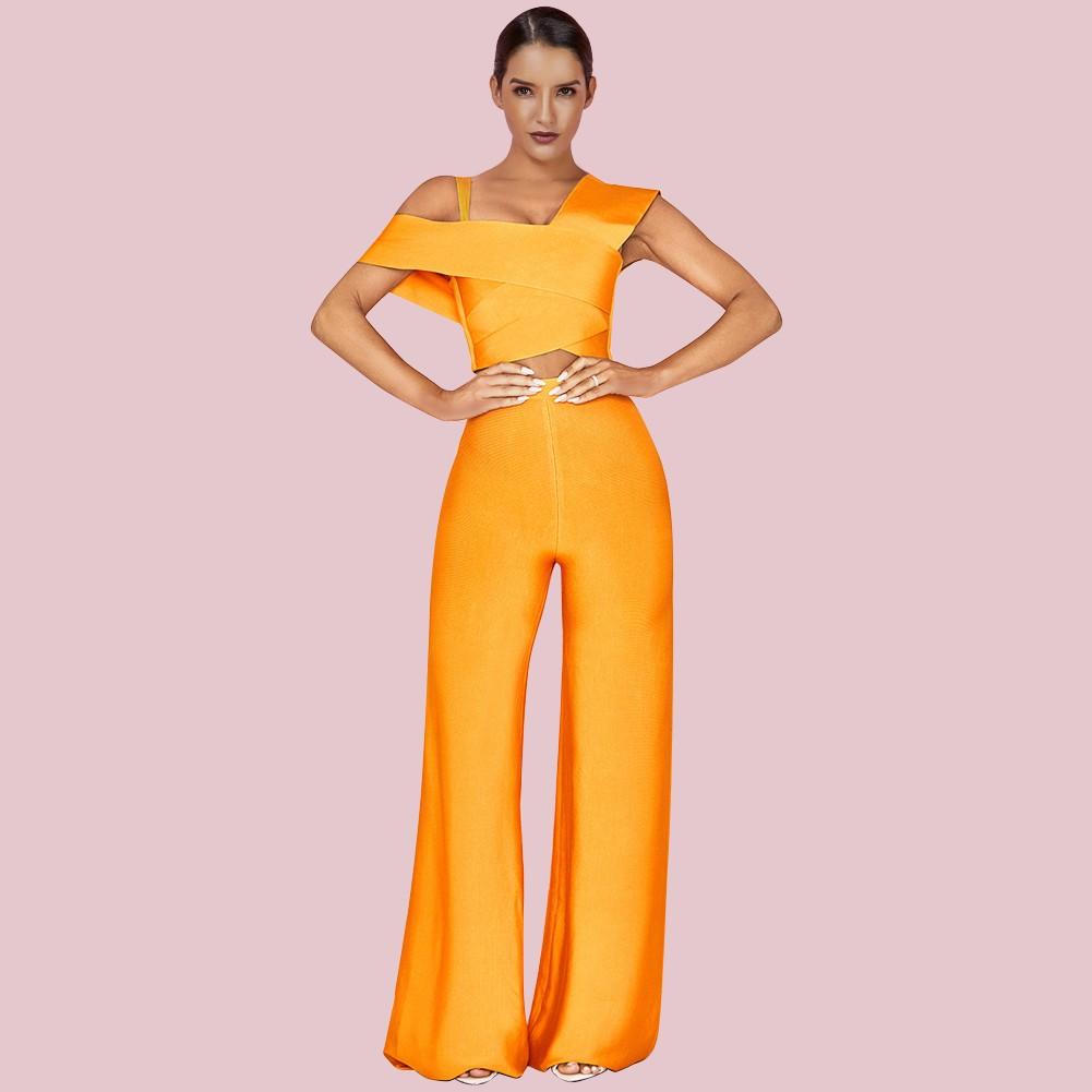Yellow Cutout Maxi Short Sleeve Strapy Bandage Jumpsuits PF19151-Yellow