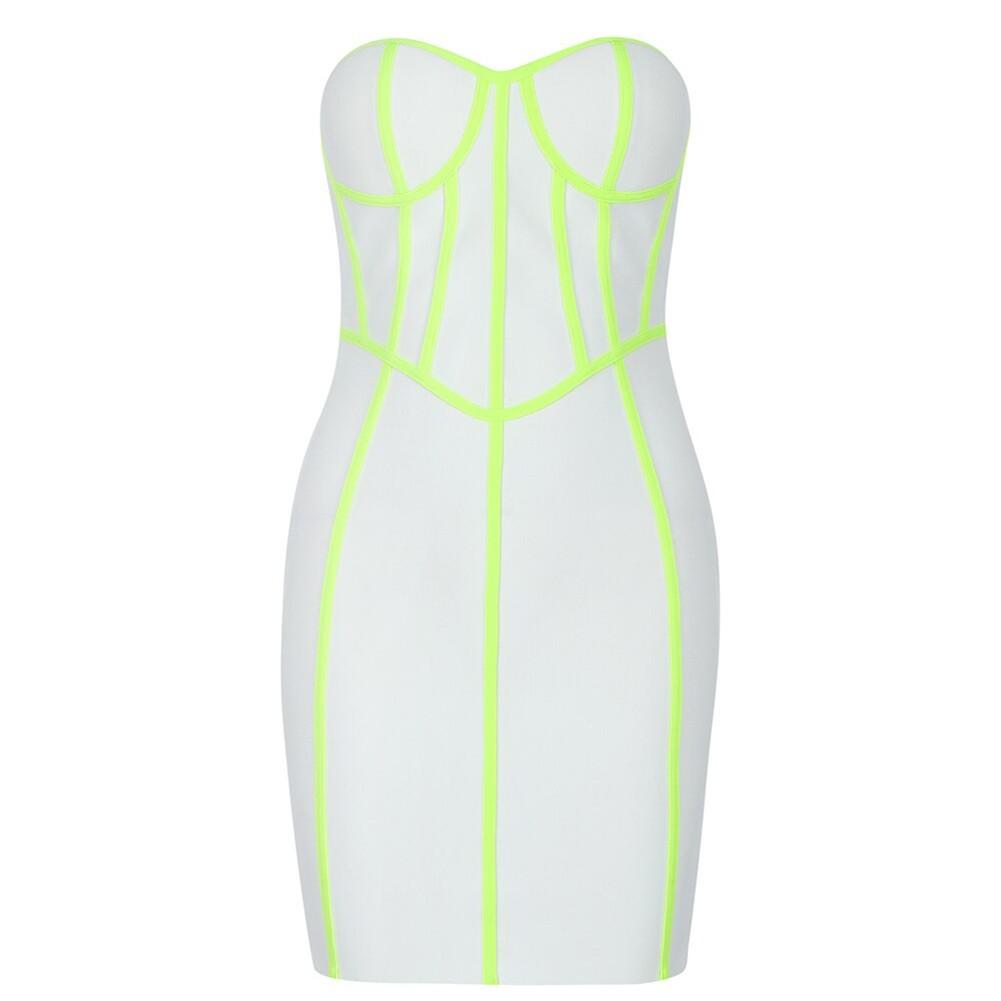White Backless Striped Mini Sleeveless Strapless Bandage Dress PF19421-White