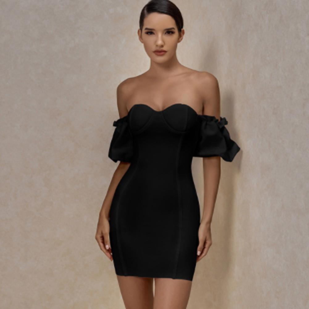 Black Backless Striped Mini Short Sleeve Off Shoulder Bandage Dress PF20006-Black