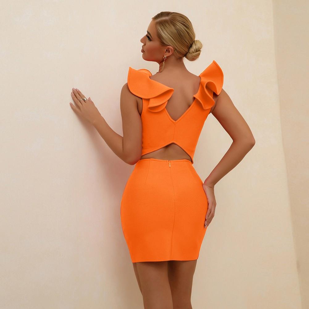 Orange Frill Cut Out Mini Sleeveless V Neck Bandage Dress PF21303-Orange