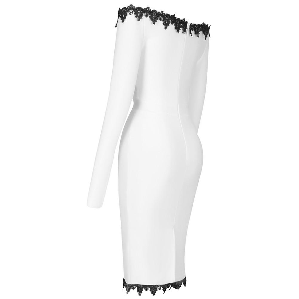 White Plain Lace Midi Long Sleeve Off Shoulder Bandage Dress PF21503-White