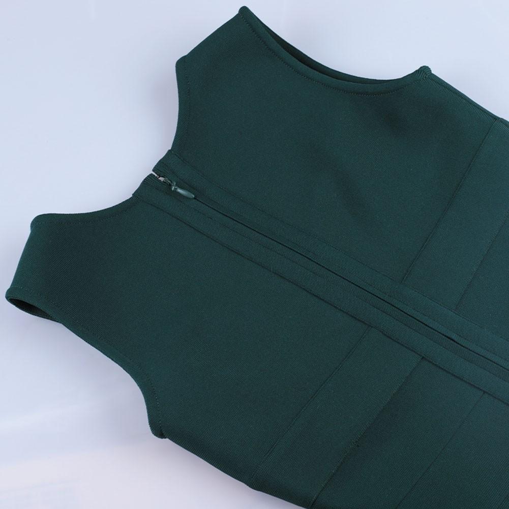 Green Plain Striped Mini Sleeveless Square Collar Bandage Dress PF21517-Green