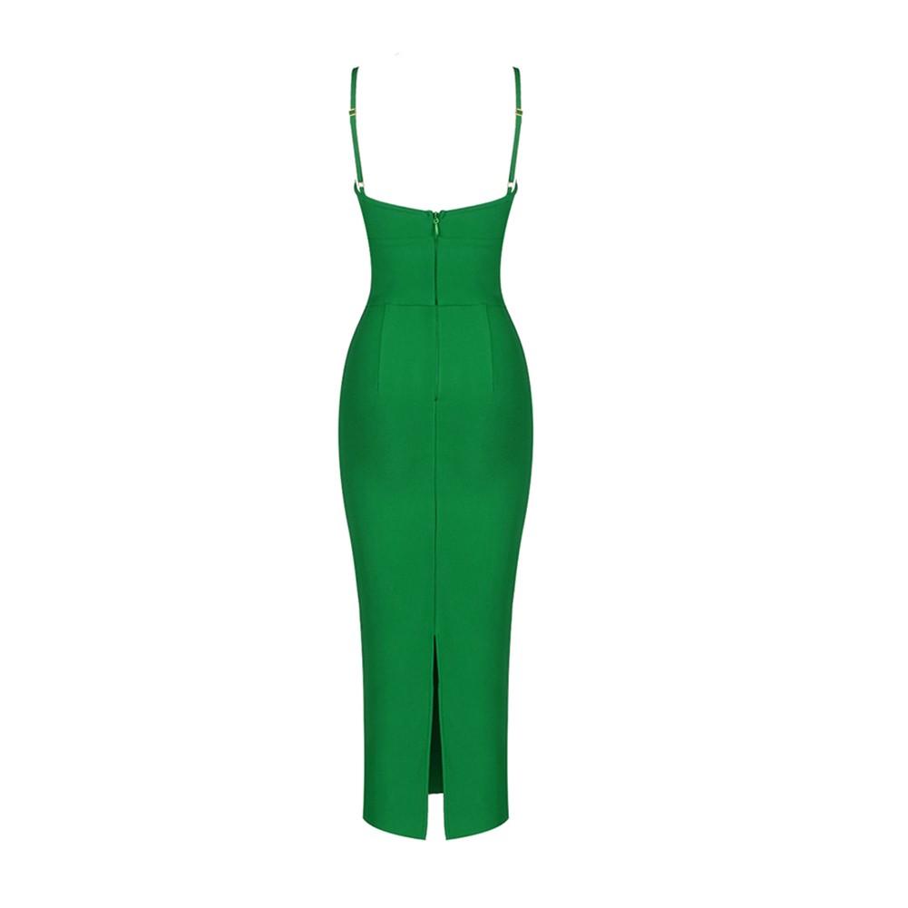 Green Slit Cut Out Midi Sleeveless Strappy Bandage Dress PH01084-Green