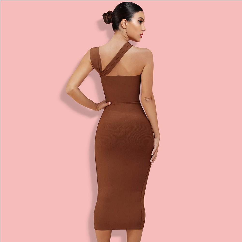 Brown Asymmetrical Cut Out Over Knee Sleeveless Strappy Bandage Dress PP091406-Brown