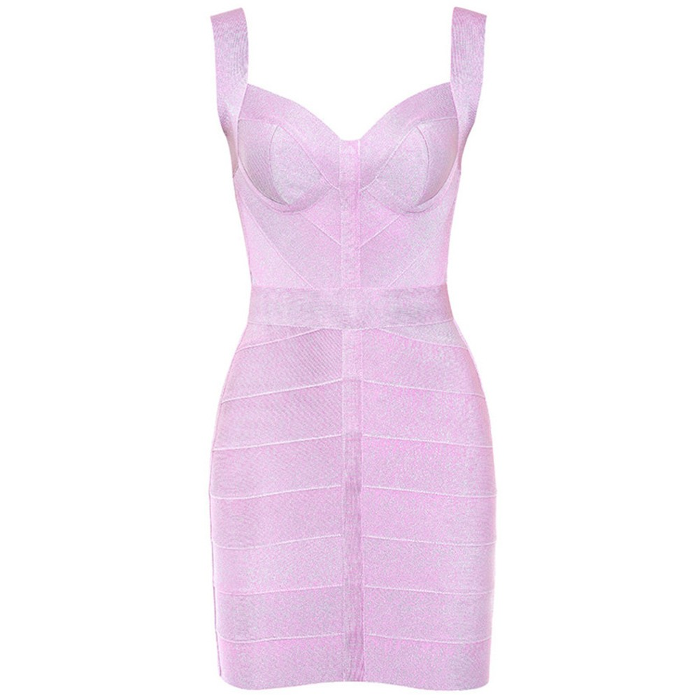Pink Shiny Mini Sleeveless Strapy Bandage Dress PP19115-Pink