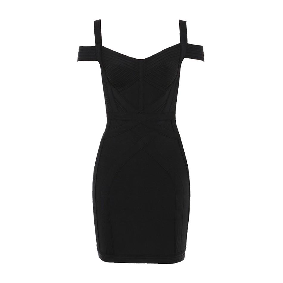 Black Striped Mini Short Sleeve Strapy Bandage Dress PP19186-Black