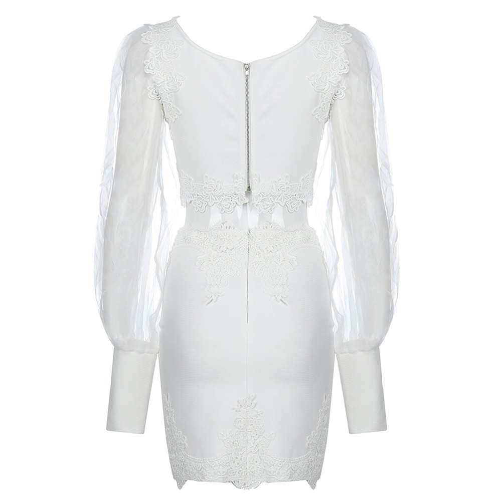 White Lace Mesh Long Sleeve Square Collar Bandage Set PP19384-White