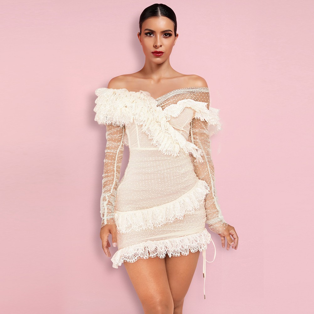White Mesh Frill Mini Long Sleeve Off Shoulder Bodycon Dress PP19409-White