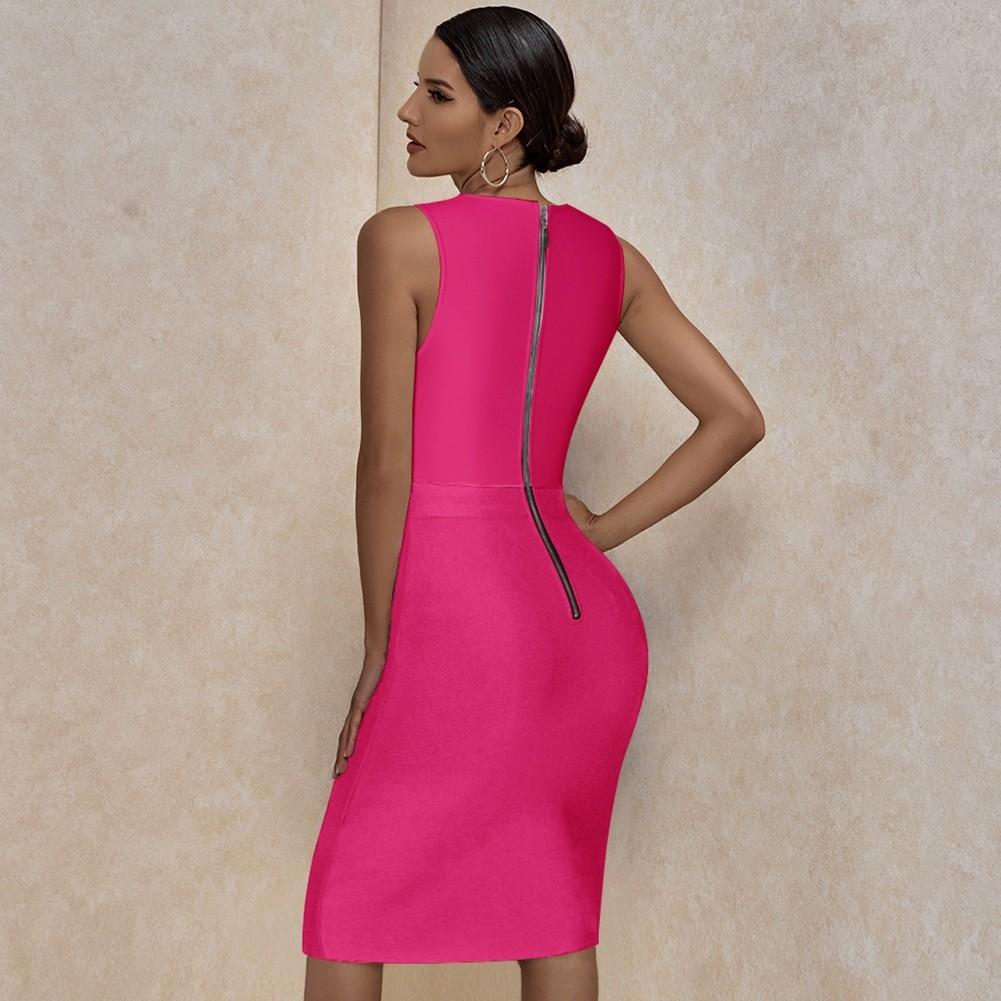 Rose Striped Mesh Midi Sleeveless Round Neck Bandage Dress PP20008-Rose