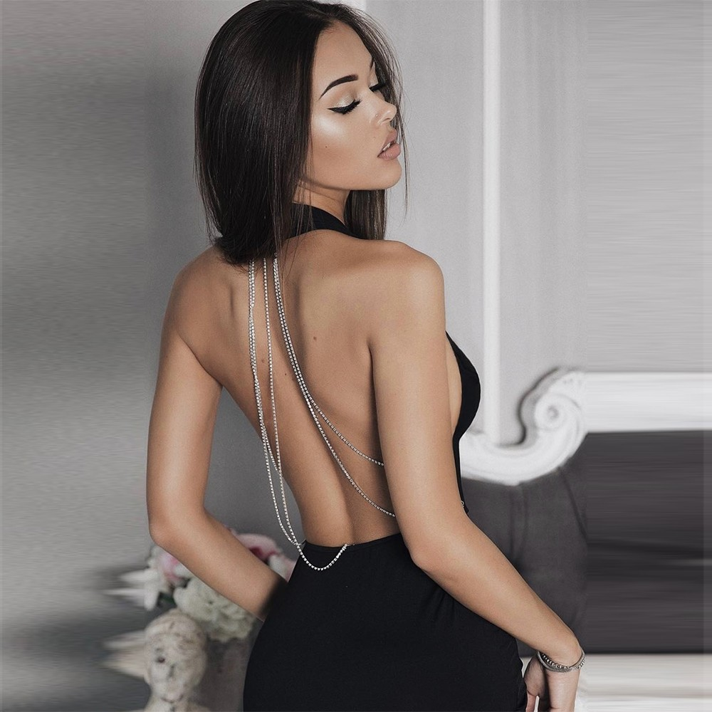 Sexy Black Halter Open Back Chain Deep V Neck Midi Bandage Dress PPHJ392-Black