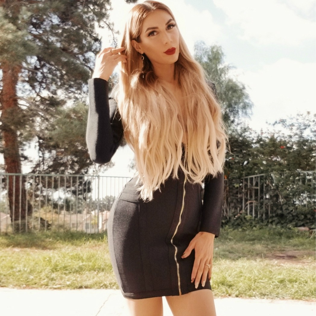 Black V Neck Long Sleeve Mini Deep V High Quality Bandage Dress PPHK011-Black