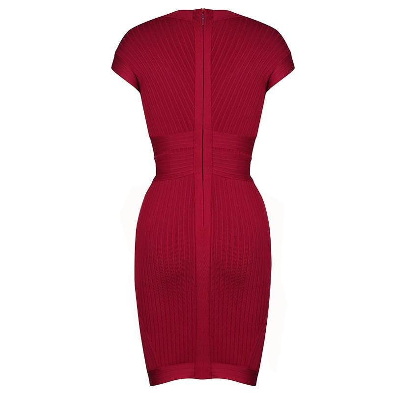 Red V Neck Cap Sleeve Mini Fashion Bandage Dress PPHK033-Red