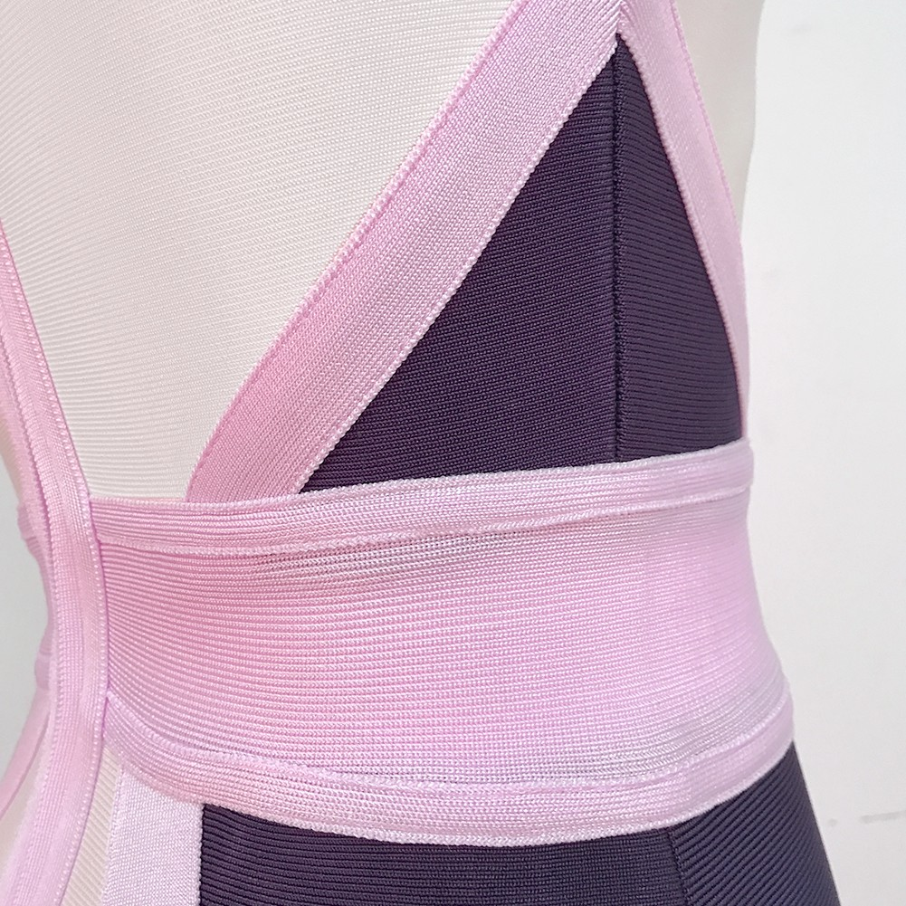 Pink Round Neck Sleeveless Mini Colorful Assorted Colors Bandage Dress PRO100-Pink