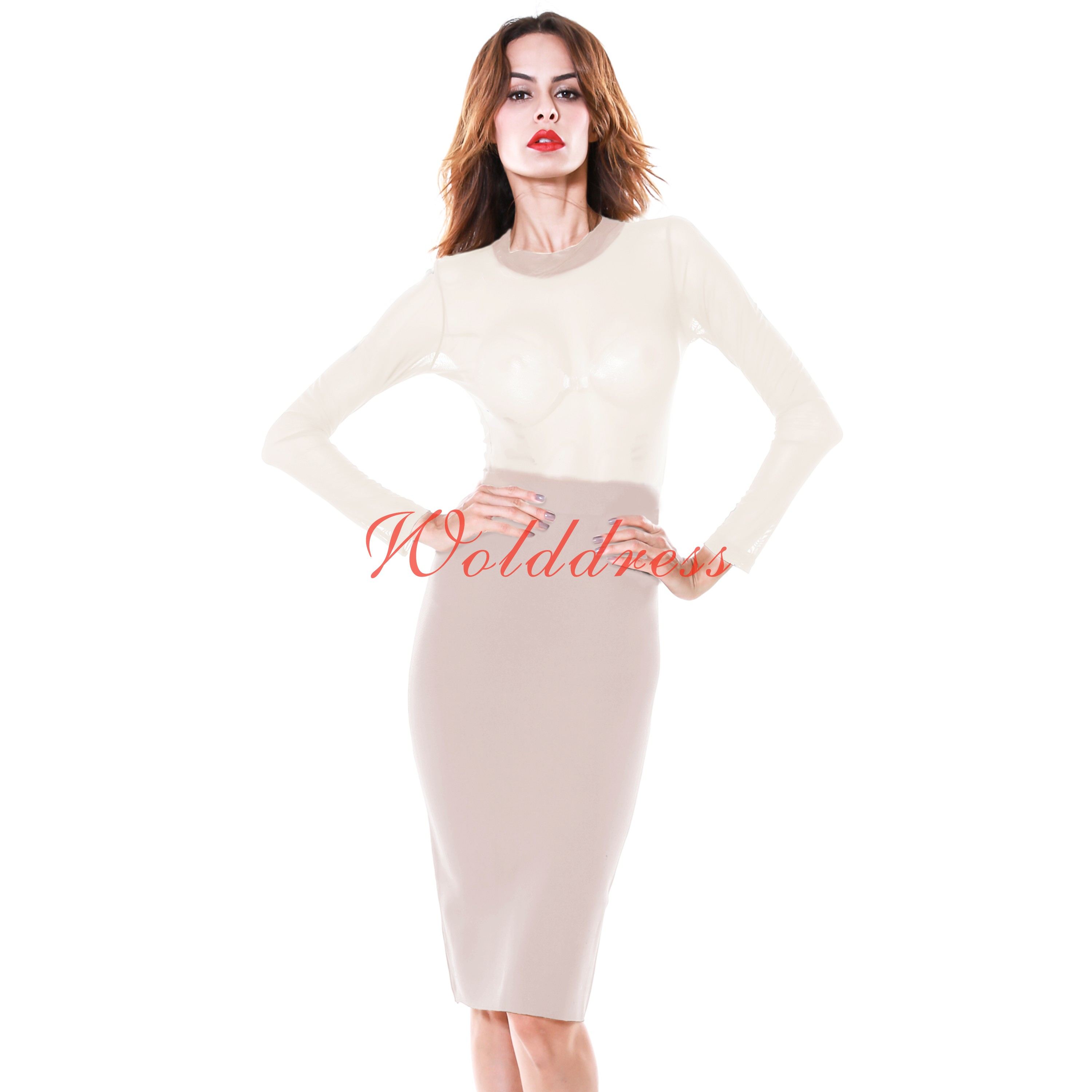 Round Neck Longsleeve Over Knee Mesh Tulle Apricot Sexy Bandage Dress PRS010-Apricot