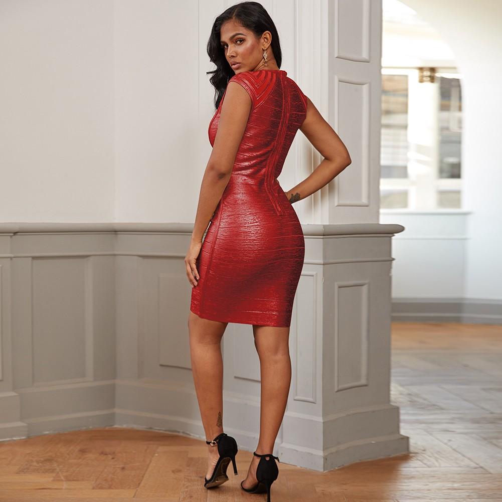 Mini Red Round Neck Striped Bandage Dress PZ19252-Red