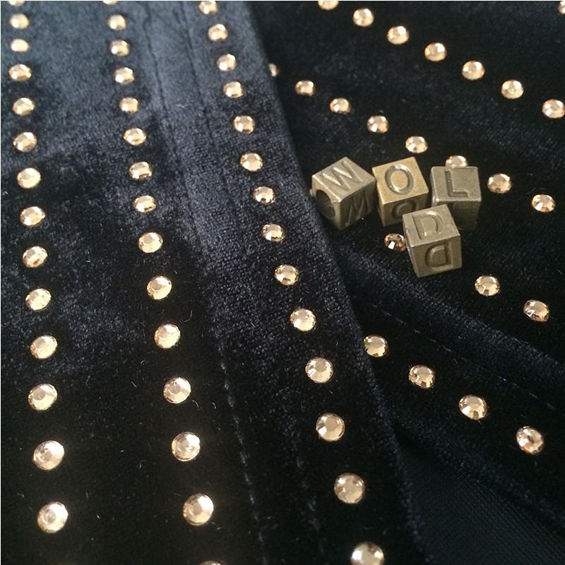 V Neck Longsleeve One Piece Beaded Long Heavy Bodycon Coat SP026-Black
