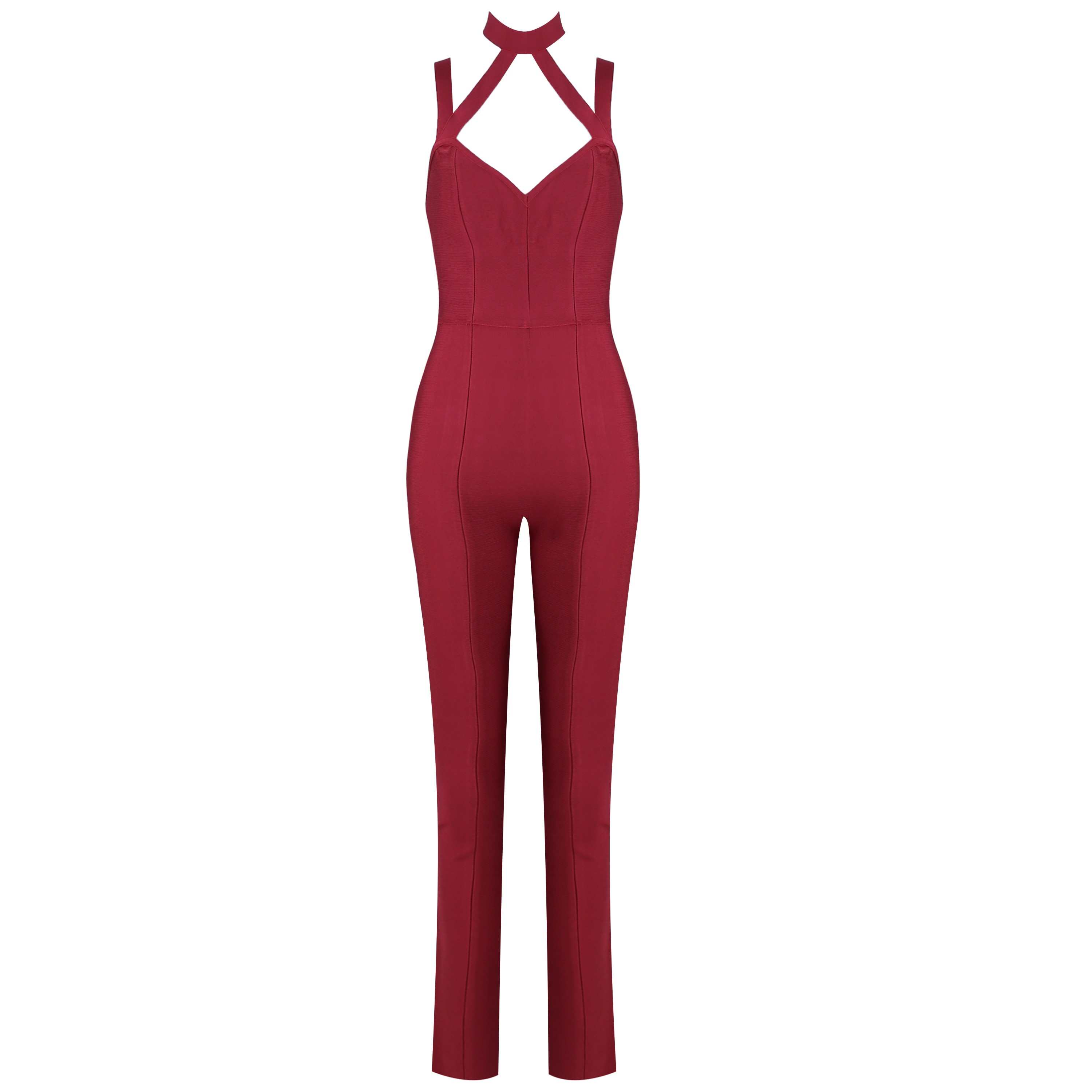 Red Strapy Sleeveless Over Knee Plain Backless High Quality Bandage Jumpsuits HK022-Red
