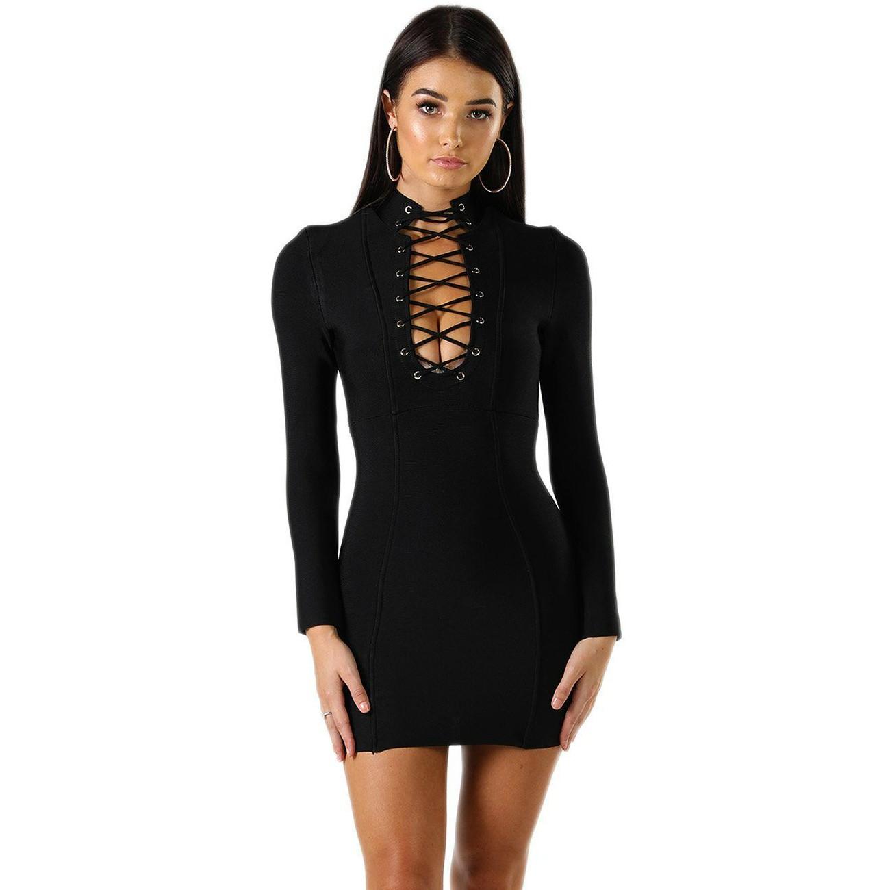 Black Halter Long Sleeve Mini Lace Up Fashion Bandage Dress HQ228-Black