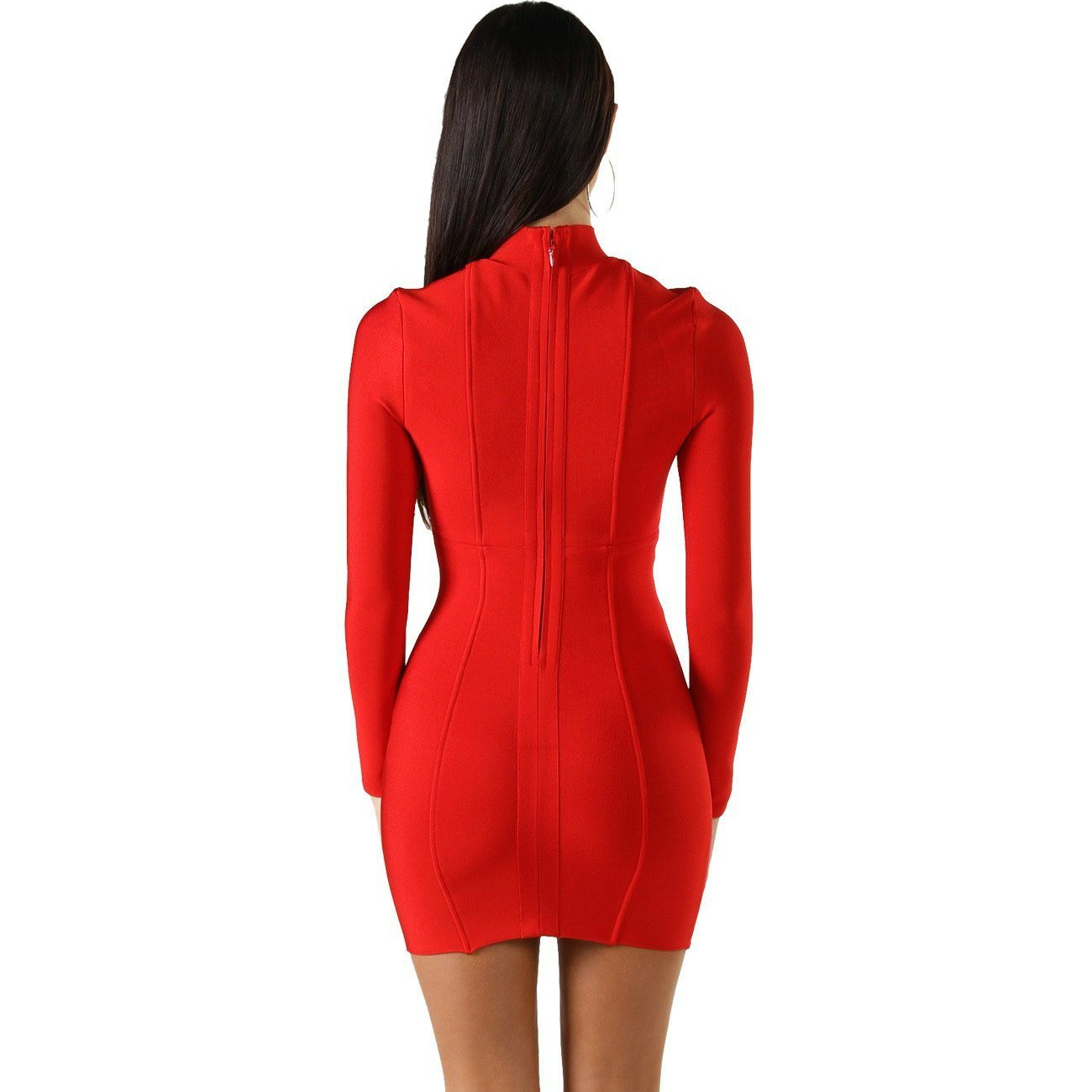 Red Halter Long Sleeve Mini Lace Up Fashion Bandage Dress HQ228-Red