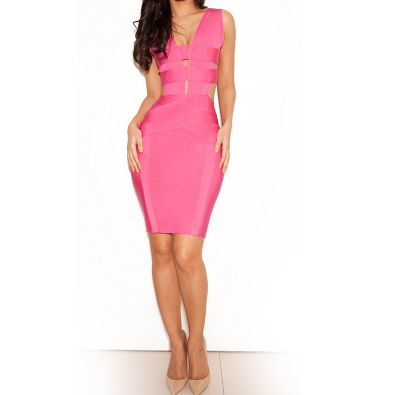 Rayon - V Neck Sleeveless Mini Cut Out Backless Pink Clubwear Bandage Dress HJ218-pink