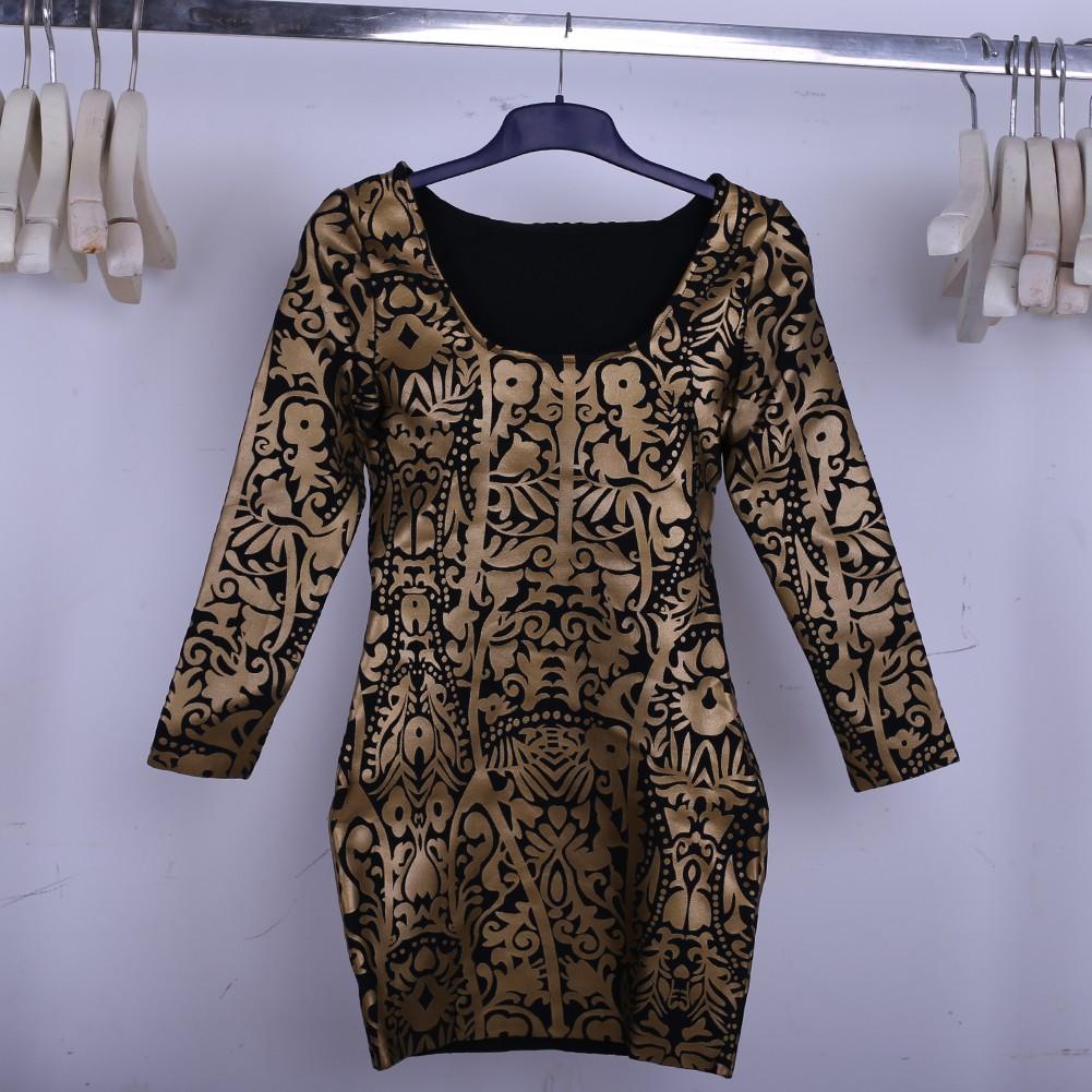 Gold Decorative Pattern Long Sleeve Dress Sep100L