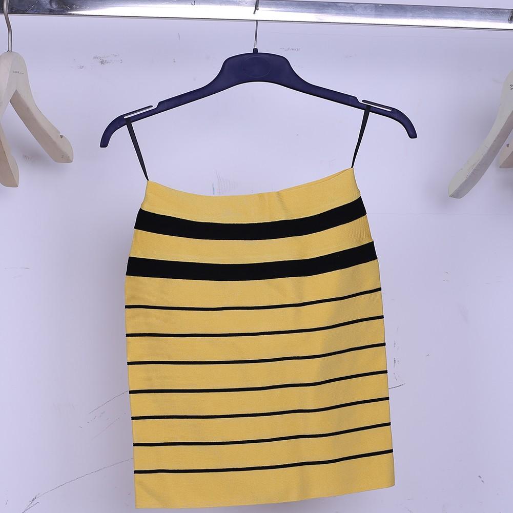 Yellow Stripe Short Skirt Sep147S