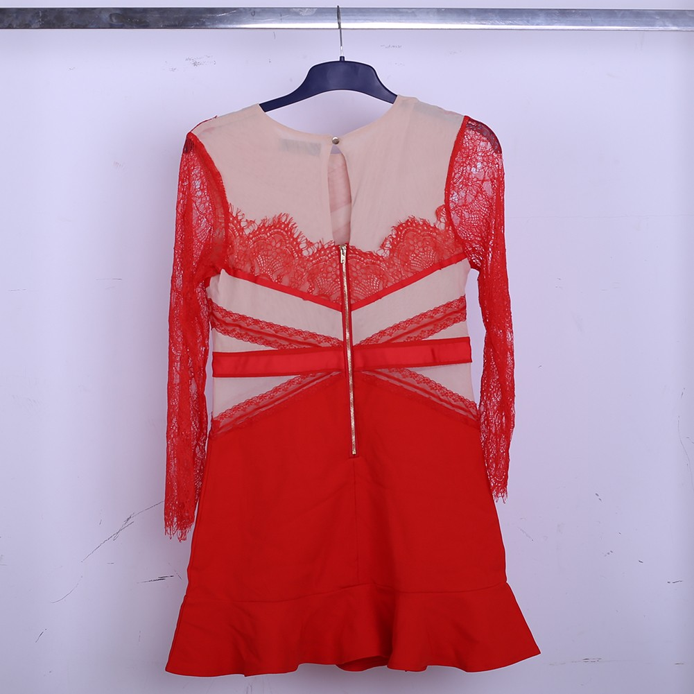 Red Net Yarn Dress Sep207L