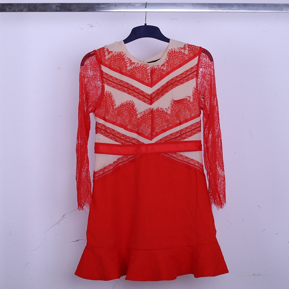 Red Net Yarn Dress Sep209M