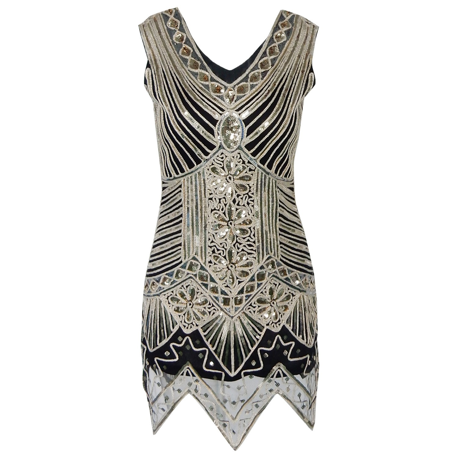 White Women's 1920S Embellished Glam Inspired Beaded Cocktail Flapper Gatsby Dress SN006-White