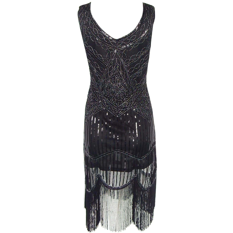 Black Women's 1920S Gastby Inspired Sequined Embellished Fringed Flapper Dress SN010-Black